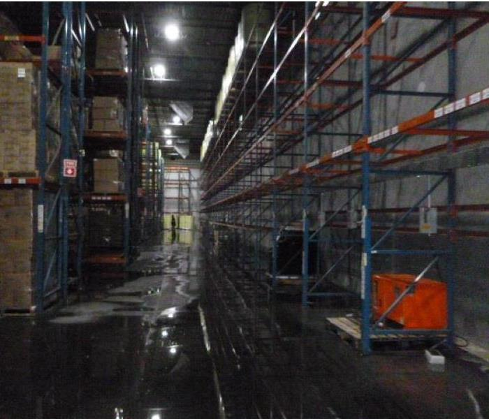 Water damage in warehouse